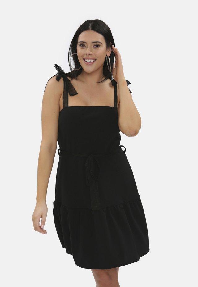 THICK BOW STRAPS TIE WAIST - Korte jurk - black