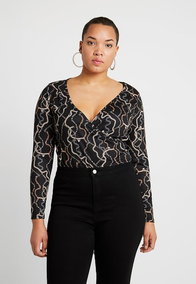 CHAIN PRINT WRAP BODYSUIT - Long sleeved top - black