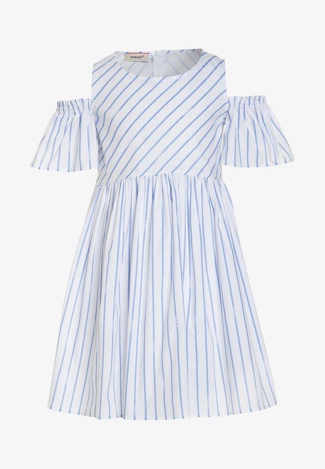 BORBERA ABITO BASTONETTO LOGO - Vestito estivo - bianco/azzurro