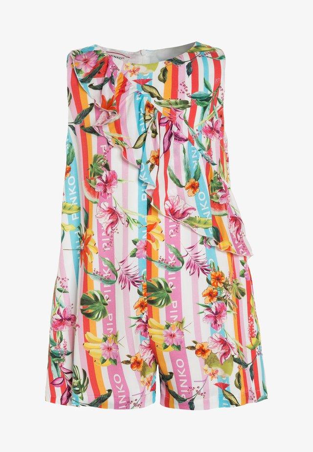TEIRO TUTA FLUIDO FLOWER BAIAD - Jumpsuit - azzurro/arancio/rosa