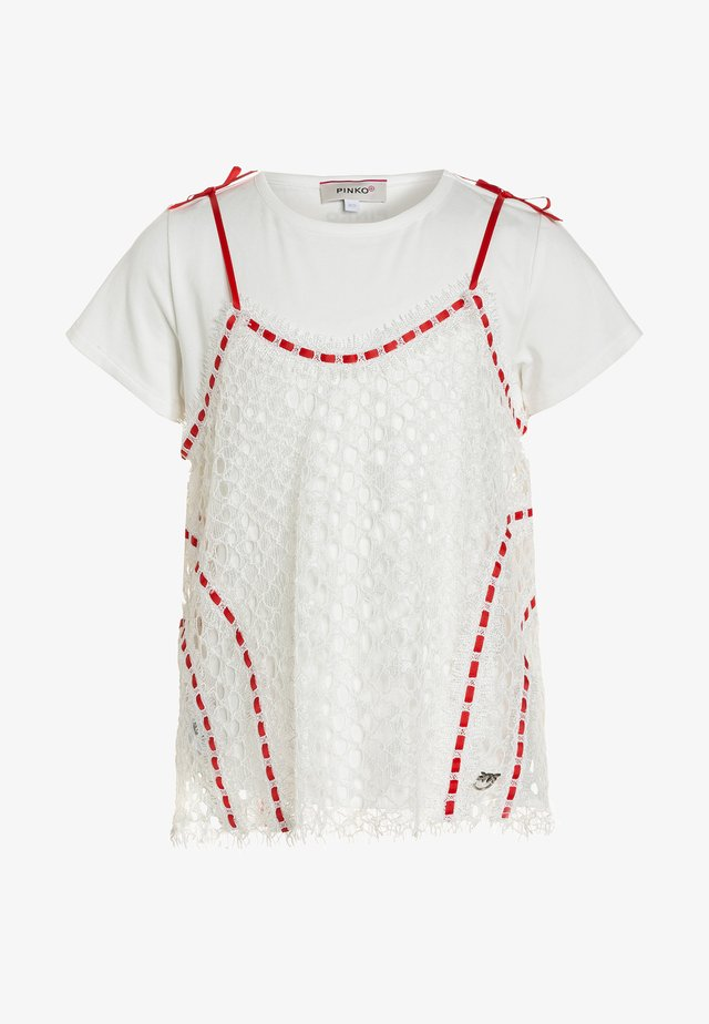 BODENESE PIZZO REBRODE 2-IN-1 - Basic T-shirt - bianco/rosso