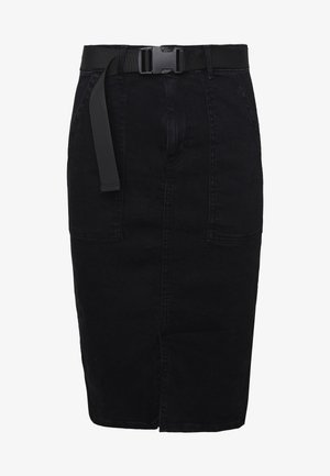 PCNALA PENCIL BUCKLE SKIRT - Falda de tubo - black denim