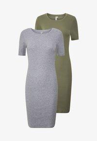 PIECES Tall - PCKAZZA TEE DRESS  2 PACK TALL - Jersey dress - light grey melange - 4