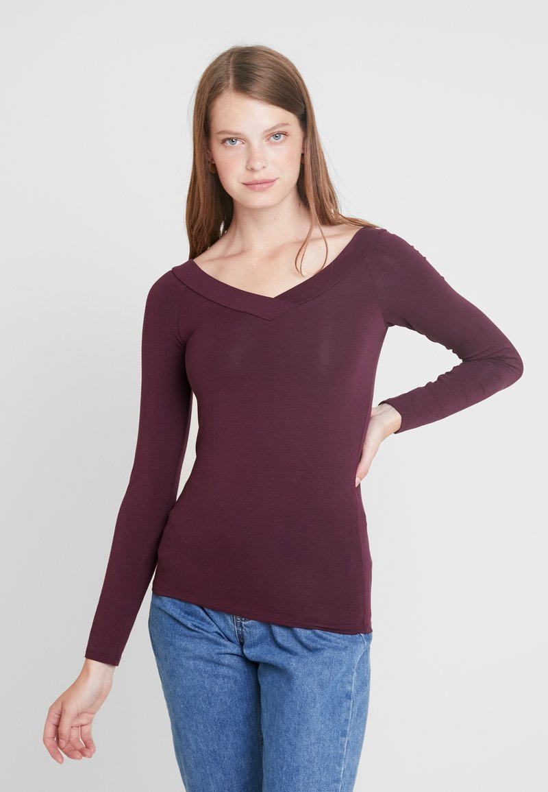 PIECES Tall - PCMALIVA V NECK - Long sleeved top - winetasting