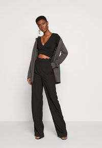 PIECES Tall - PCJIANNA CROPPED - Long sleeved top - black - 1