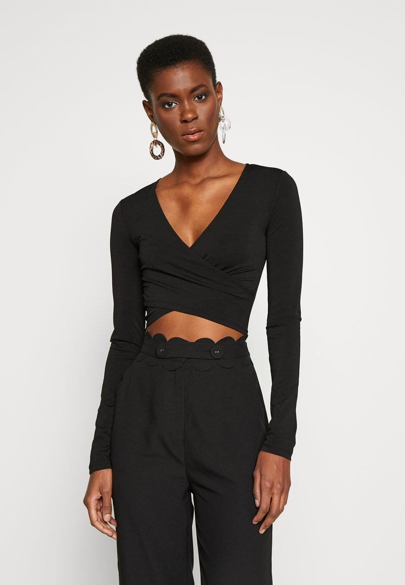 PIECES Tall - PCJIANNA CROPPED - Long sleeved top - black