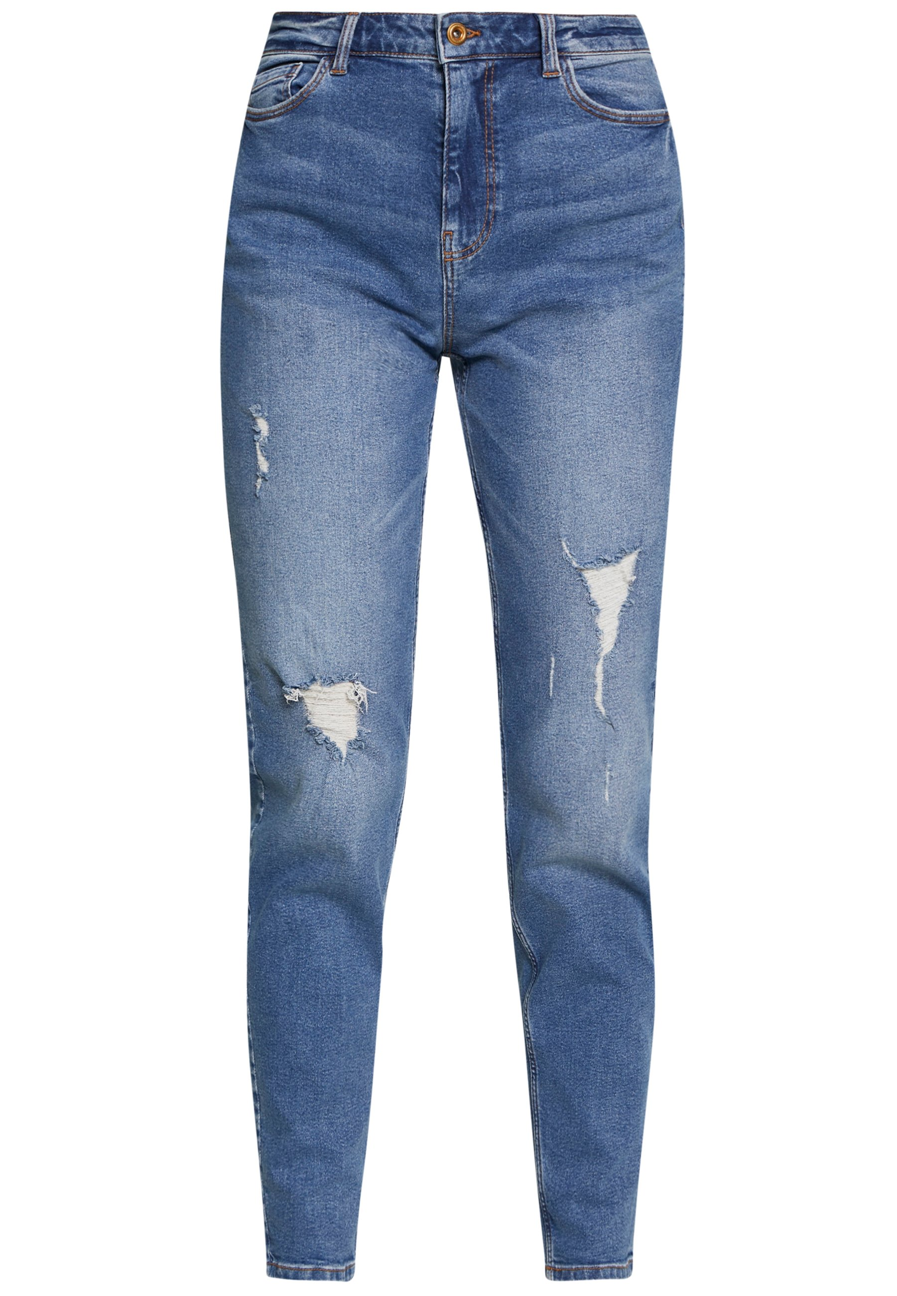 PIECES Tall PCKESIA MOM DESTROY - Jeansy Relaxed Fit - medium blue denim