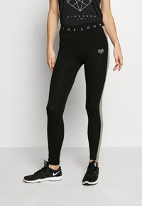 Pink Soda - BISCAY PANEL LEGGING - Tights - black/mid grey grindle - 0