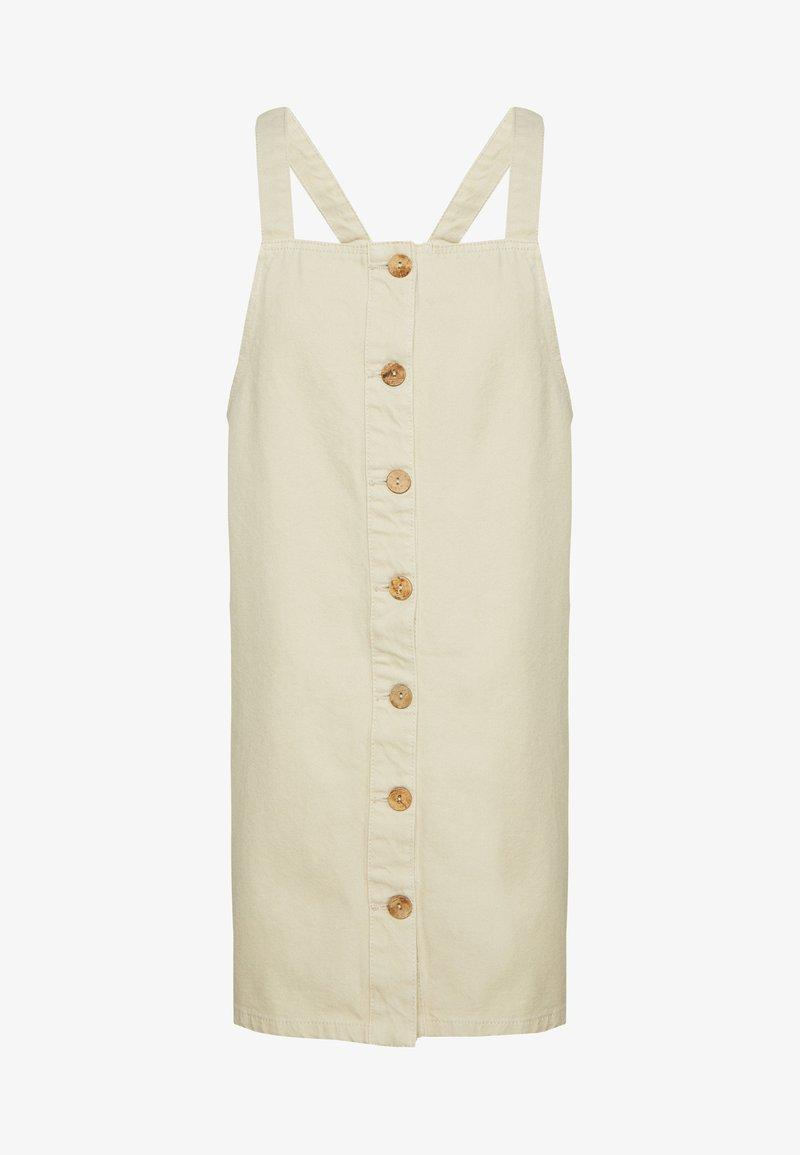 Pieces Petite - PCASLI COLORED PINAFORE DRESS - Vestido vaquero - almond milk