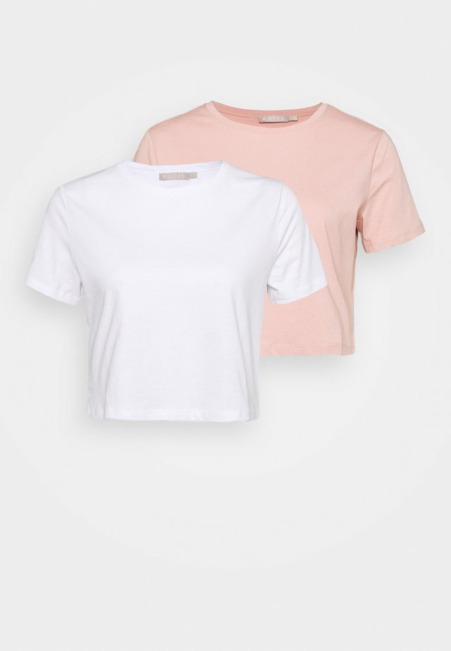 PCRINA CROP PETIT 2 PACK - Basic T-shirt - white/light pink