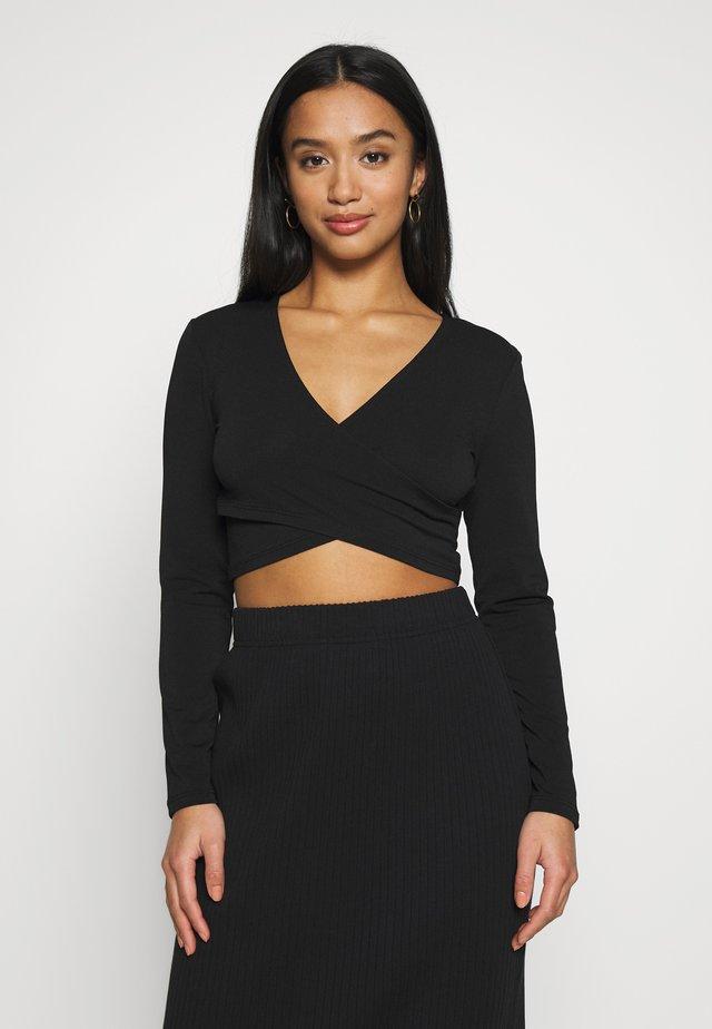 PCJIANNA CROPPED - Bluzka z długim rękawem - black