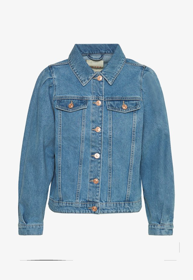 PCANI PUFF SLEEVE - Jeansjakke - light blue denim