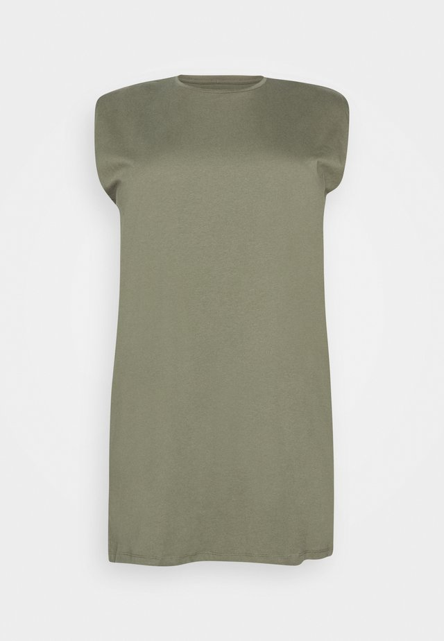 PCLIZ DRESS CURVE - Jerseykjoler - deep lichen green