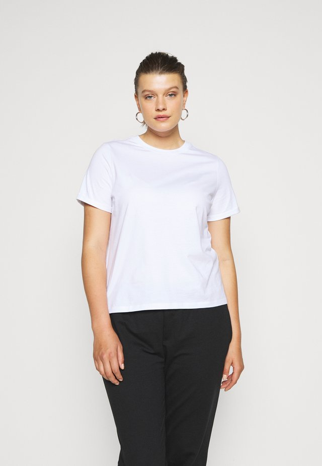 PCRIA FOLD UP SOLID TEE - T-shirts - bright white