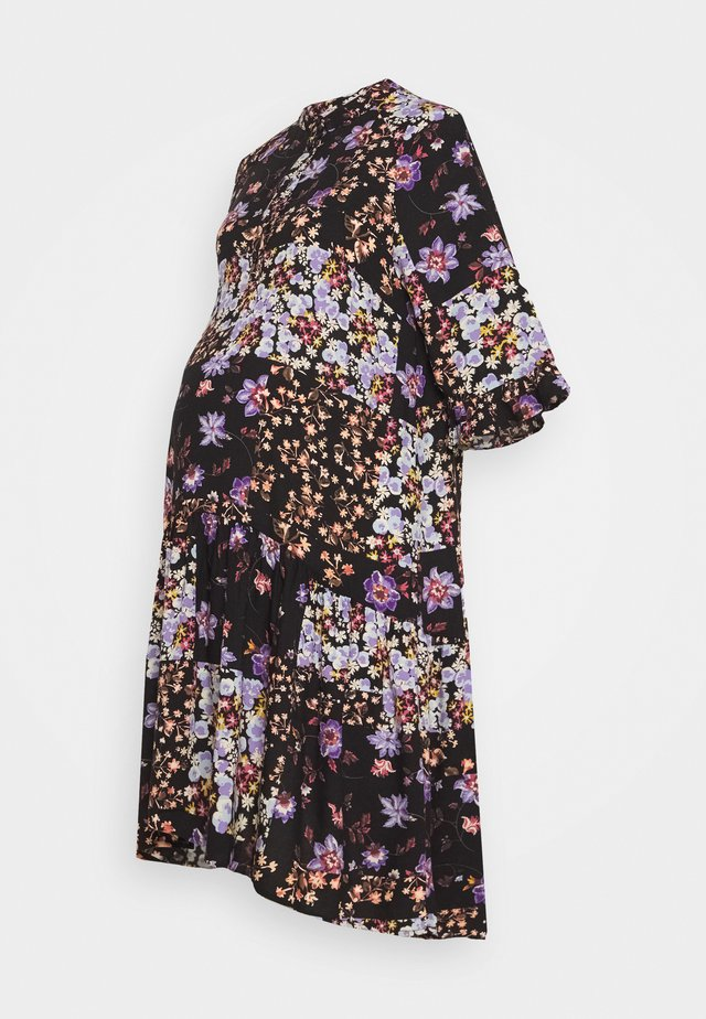 PCMBECCA DRESS - Shirt dress - black/purple
