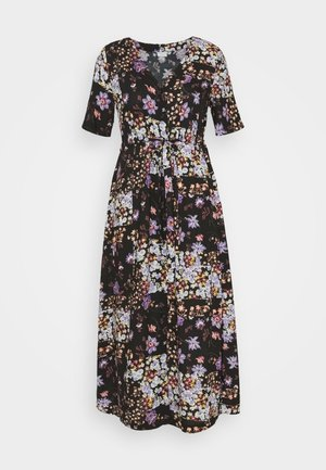 PCMBECCA MIDI DRESS - Denní šaty - black/purple