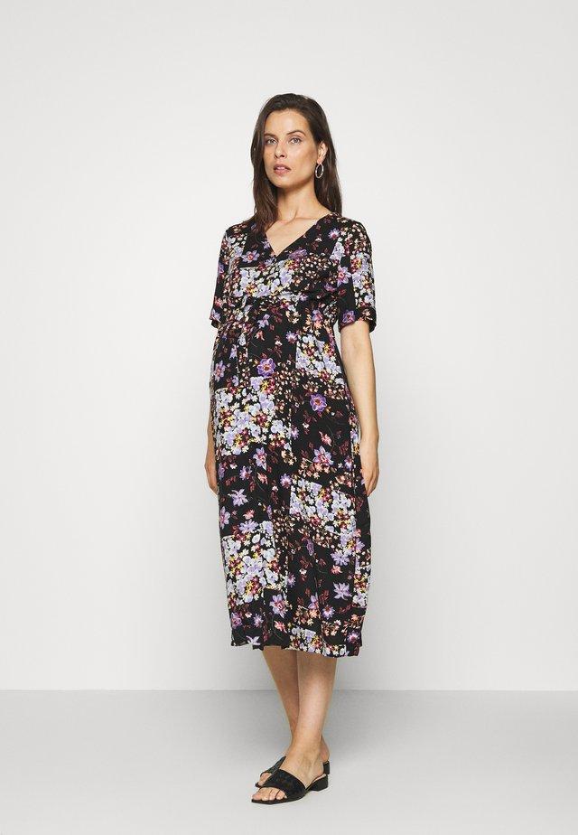 PCMBECCA MIDI DRESS - Korte jurk - black/purple