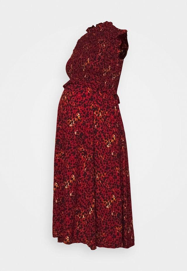 PCMMARIGOLD MIDI DRESS - Jerseyjurk - black/pompeian red
