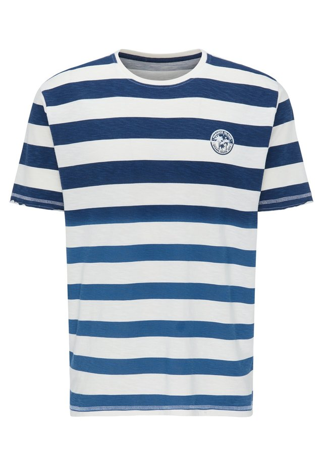 Print T-shirt - blau/weiß gestreift