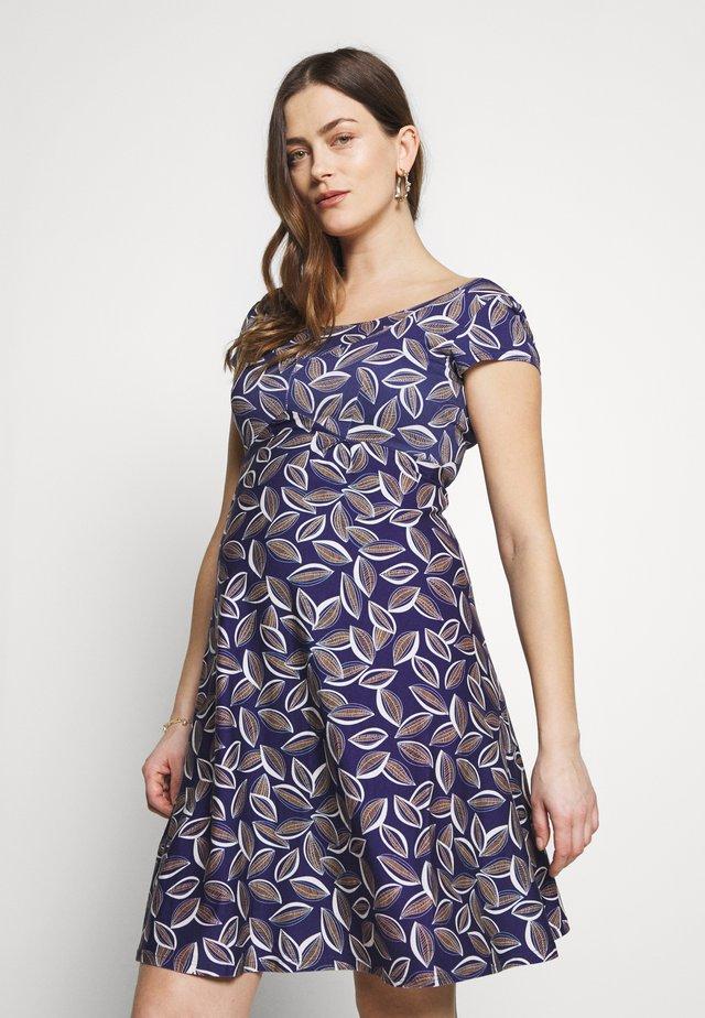 JEANNE - Jersey dress - cacao/blue