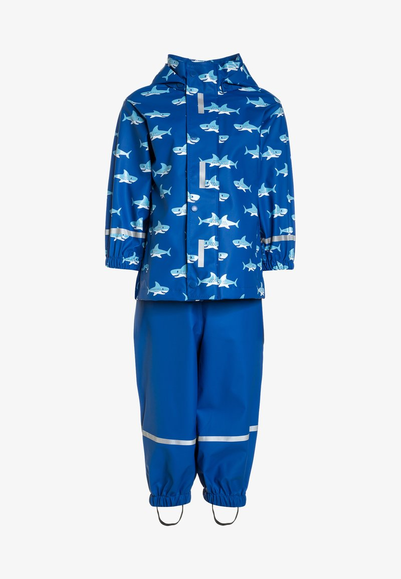 Playshoes - REGENANZUG HAI ALLOVER SET  - Pantalon de pluie - blau