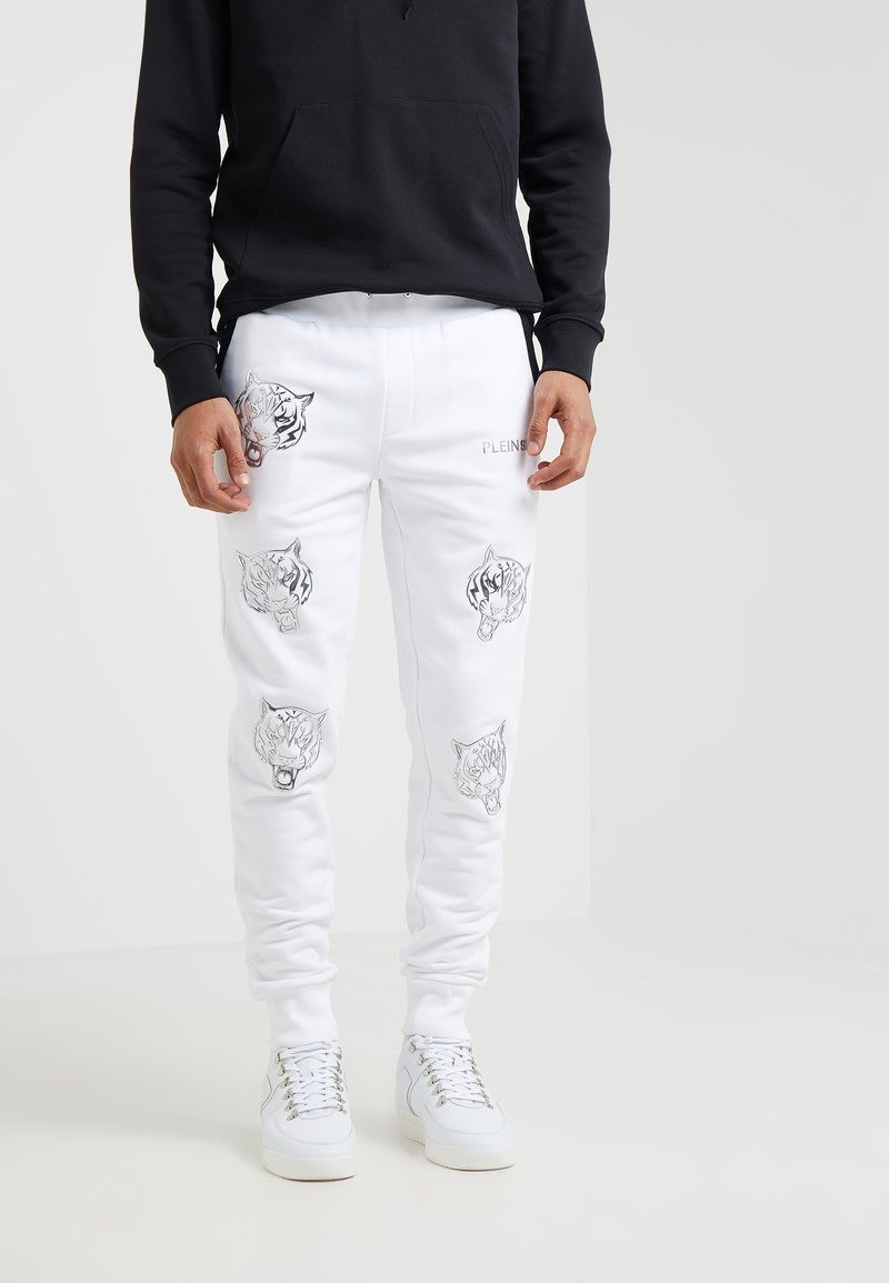 Plein Sport - JOGGING TROUSERS TIGER - Tracksuit bottoms - white/silver