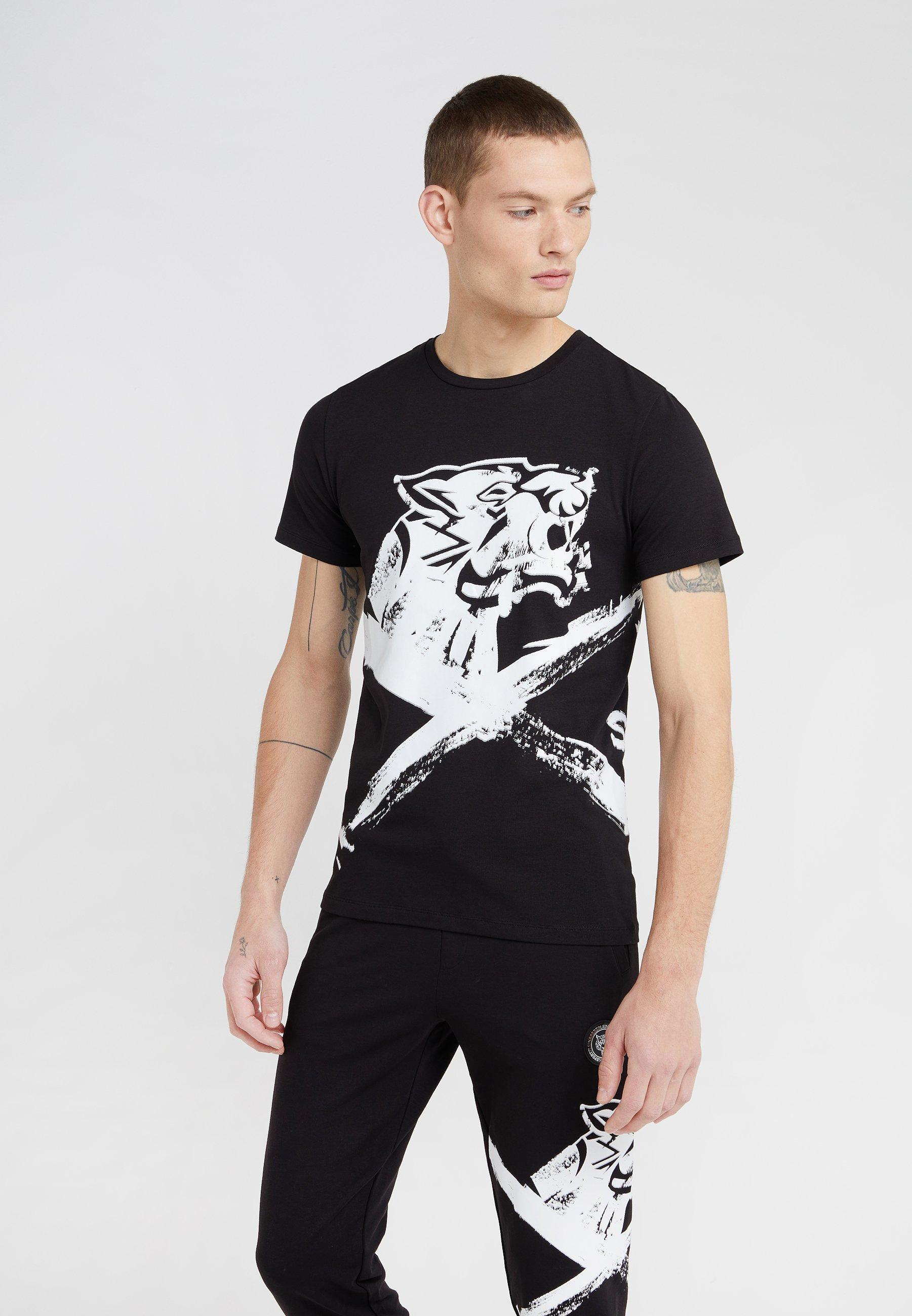 Plein CrossT Round Sport Neck Black Imprimé shirt shdtrQ