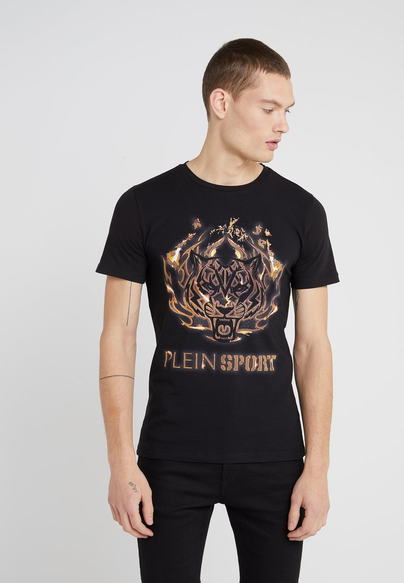 Plein Sport - ROUND NECK TIGER - T-shirt med print - black