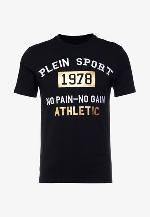 ROUND NECK STATEMEN - T-shirt med print - black/gold