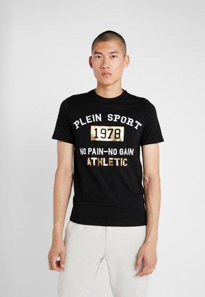 ROUND NECK STATEMEN - T-shirt med print - black/gold