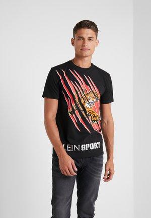 ROUND NECK - T-Shirt print - black/red