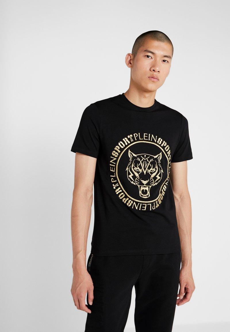 Plein Sport - ROUND NECK TIGER - T-shirt med print - black/gold