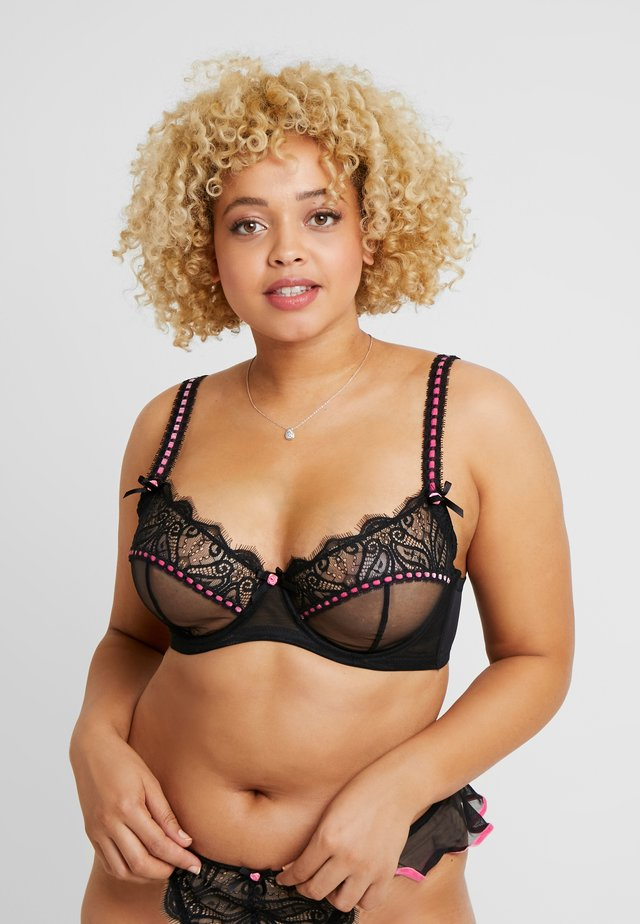 MONICA RIBBON SLOT BRA CURVE - Bøyle-BH - black