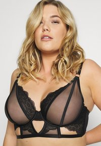 Playful Promises - FENELLA GRAPHIC LINES LONGLINE BRA WITH EYELASH - Beugel BH - black - 2