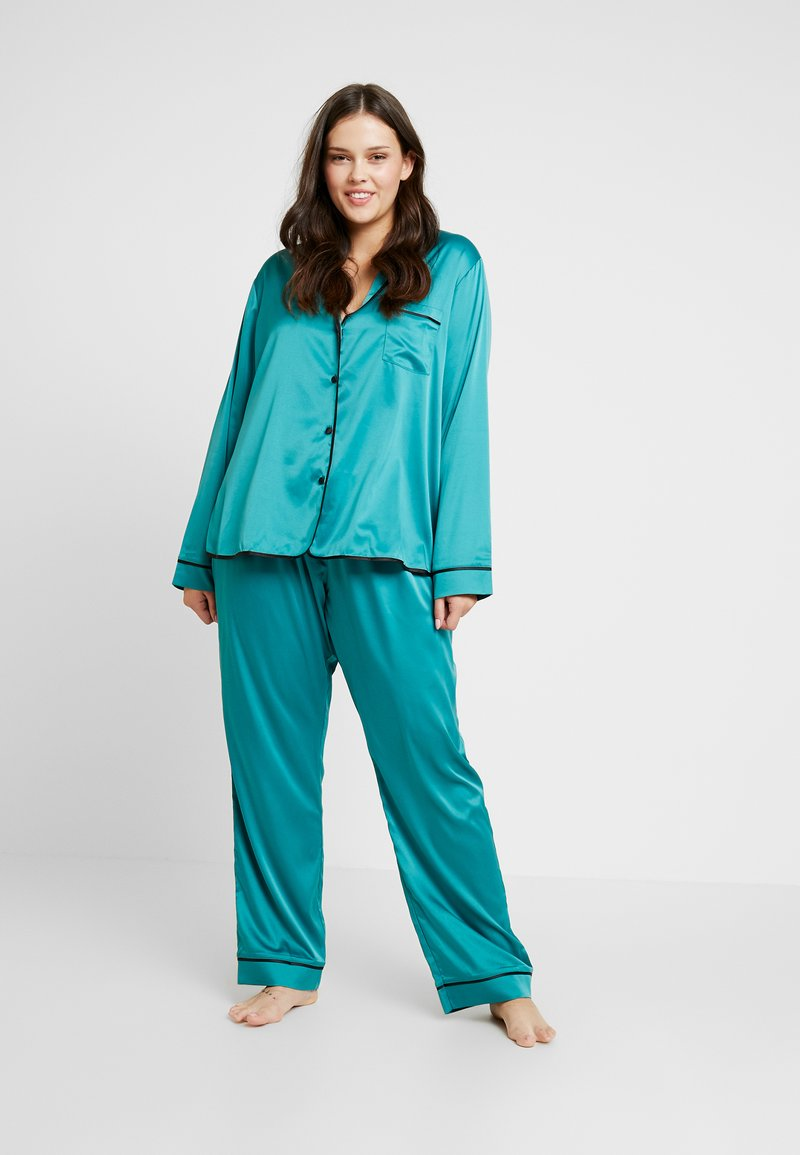 Playful Promises - WITH CONTRAST PIPING SET - Pyjama set - teal