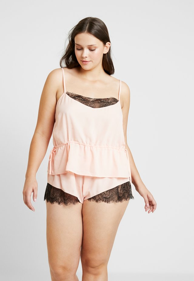 TIE SIDE CAMI  SHORTS WITH CONTRAST SET - Nattøj sæt - pink