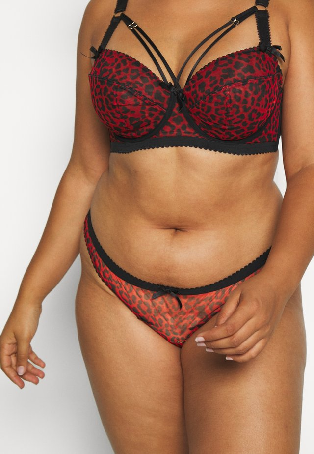 JOSIE LEOPARD PICOT CHEEKY BRAZILIAN BRIEF CURVE - Slip - red/black