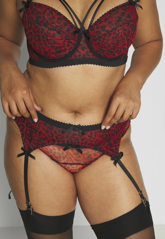 JOSIE LEOPARD PICOT SUSPENDER BELT CURVE - Jarretels - red/black