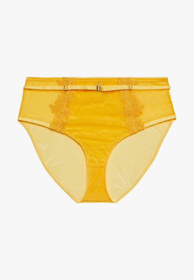 VIVIENNE MUSTARD NET AND HIGH WAIST BRIEF CURVE - Trusser - mustard