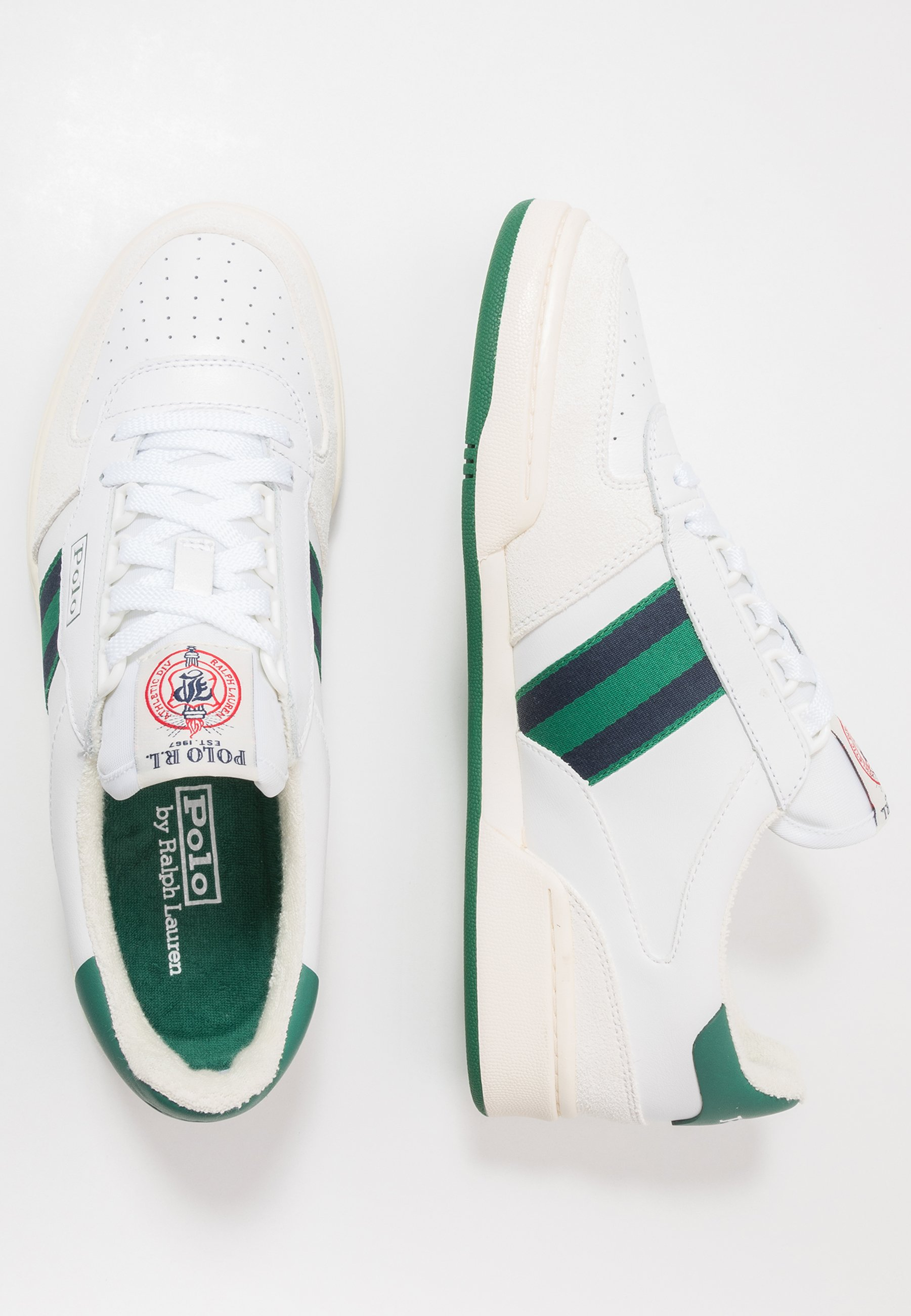 Polo Ralph Lauren COURT ATHLETIC SHOE - Sneakersy niskie - white/kelly green