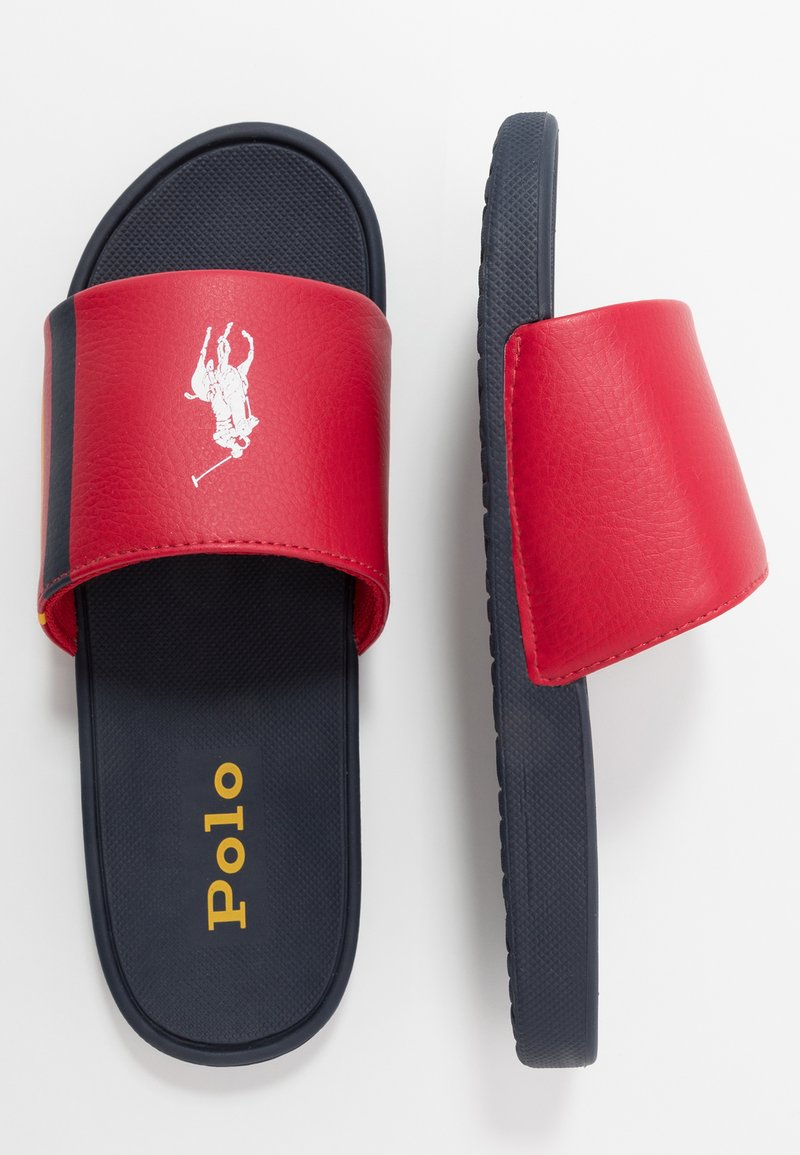 Polo Ralph Lauren - BENSLEY II - Klapki - red/navy/yellow tumbled/white