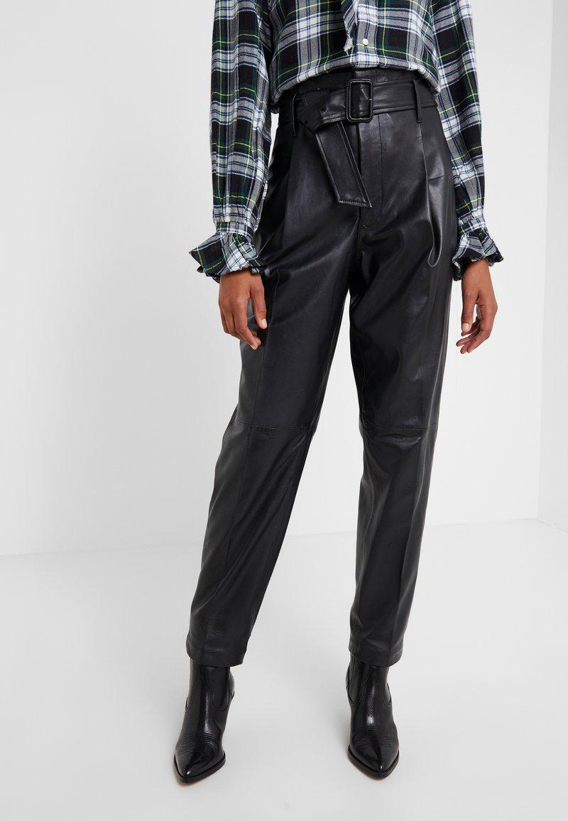 Polo Ralph Lauren - SHINE LUX  - Pantalón de cuero - polo black