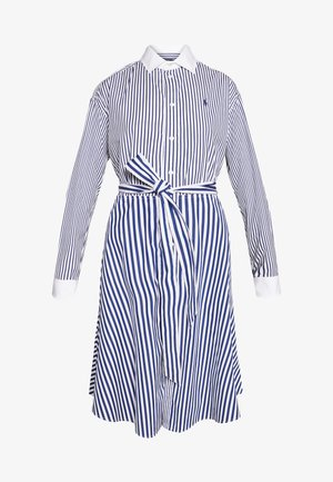 LONG SLEEVE CASUAL DRESS - Abito a camicia - white/navy