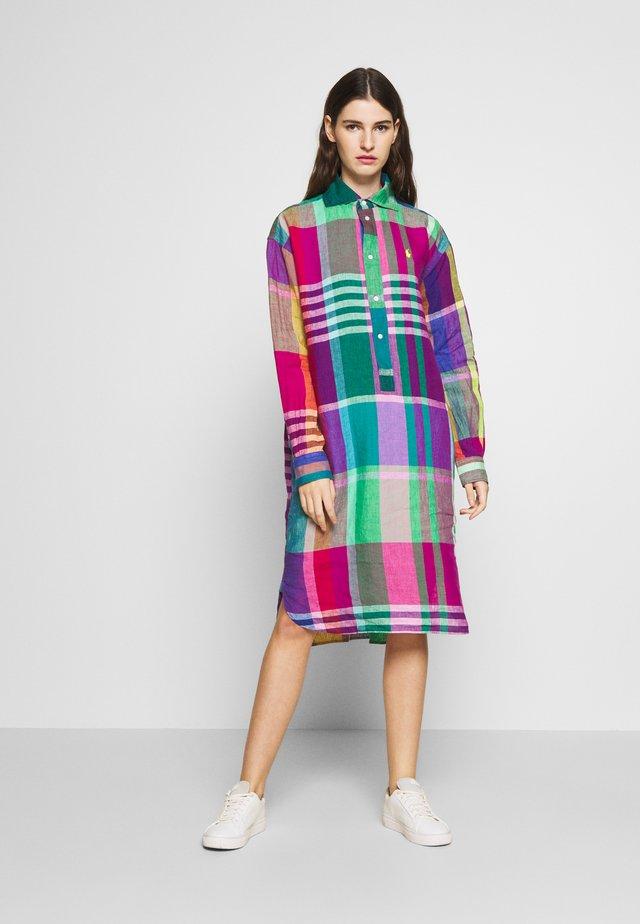 CHIGO LONG SLEEVE CASUAL DRESS - Korte jurk - green/purple