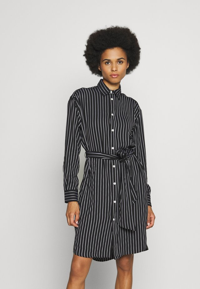 LONG SLEEVE CASUAL DRESS - Shirt dress - black/white