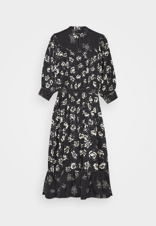 SHORT SLEEVE CASUAL DRESS - Korte jurk - black/white