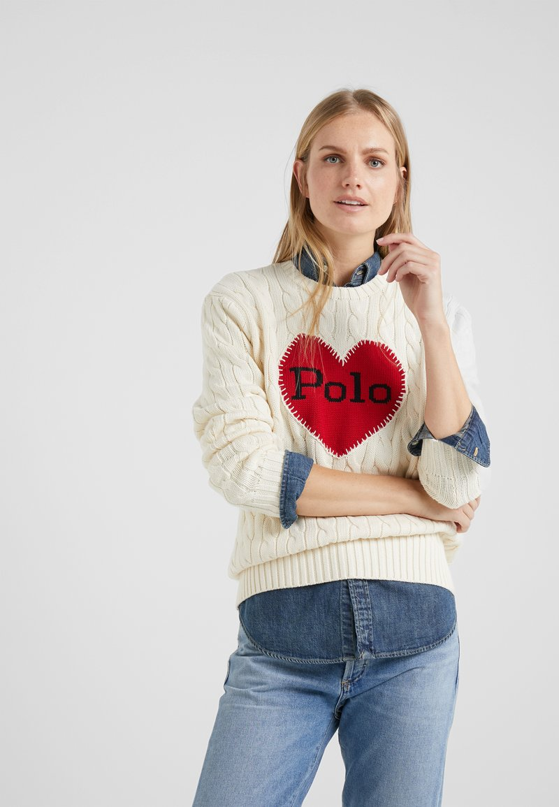 Polo Ralph Lauren - CABLE - Neule - cream/red