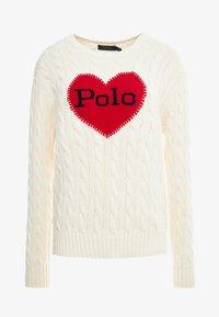 Polo Ralph Lauren - CABLE - Maglione - cream/red - 3
