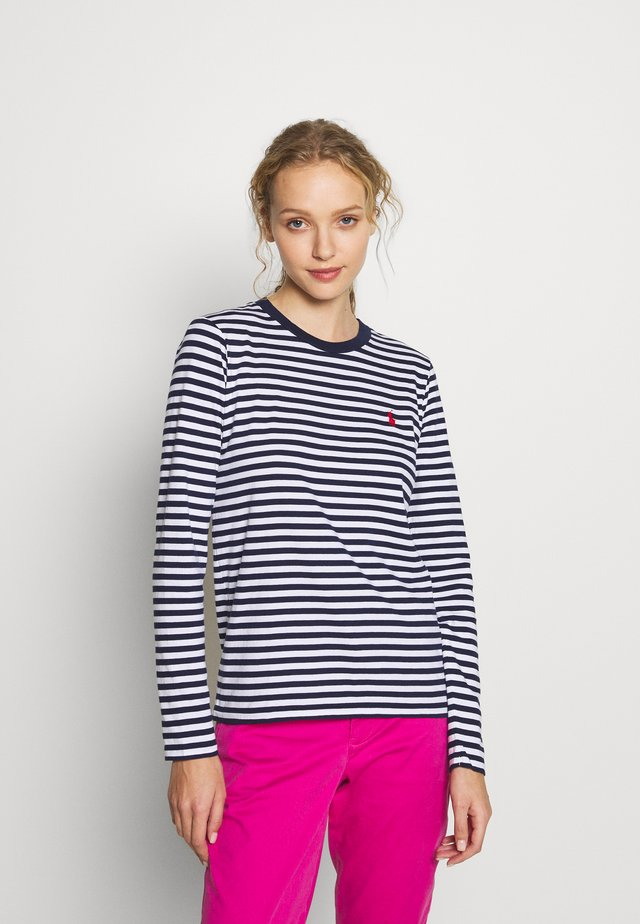 Long sleeved top - dark blue/white