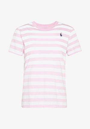 Print T-shirt - carmel pink white